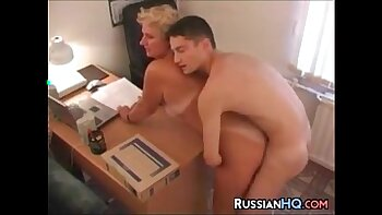 Russian office maid with nice tits and sexy fuck her boss