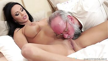 Busty senior trio surprised by older chap