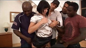 Her First Interracial Gang Bang Video