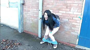 Cute skanks peeing in public bush