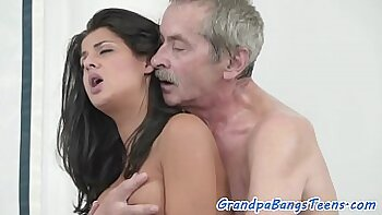 Teen fucked by cock riding grandpa