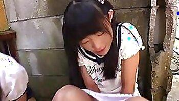schoolgirl with cream flow before school